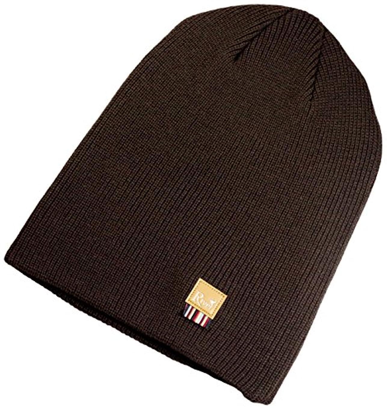 置くためにパックびんまもなくRIVER(リバー) SCUDETTO RV122318 HEATHER BROWN FREE   リブ編み ビーニー ニット帽子