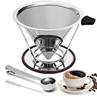 Pour Overコーヒーメーカー品質4カップpour Over Reusableコーヒーフィルタステンレススチール円錐Dripper with Stand and BONUSスプーン
