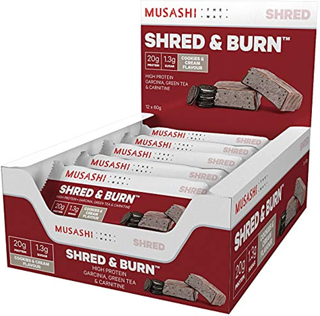 一月ギャップ葉MUSASHI(ムサシ)Shred & Burn 燃焼 プロテインバー 60g x12本(クッキー&クリーム味)[海外直送品]
