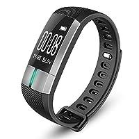 G20 Bluetoothスマートウォッチ血圧心電図日付心拍数モニターリストバンド ファッション 腕時計 スポーツ クリスマスギフト ジュエリー (ブラック)
