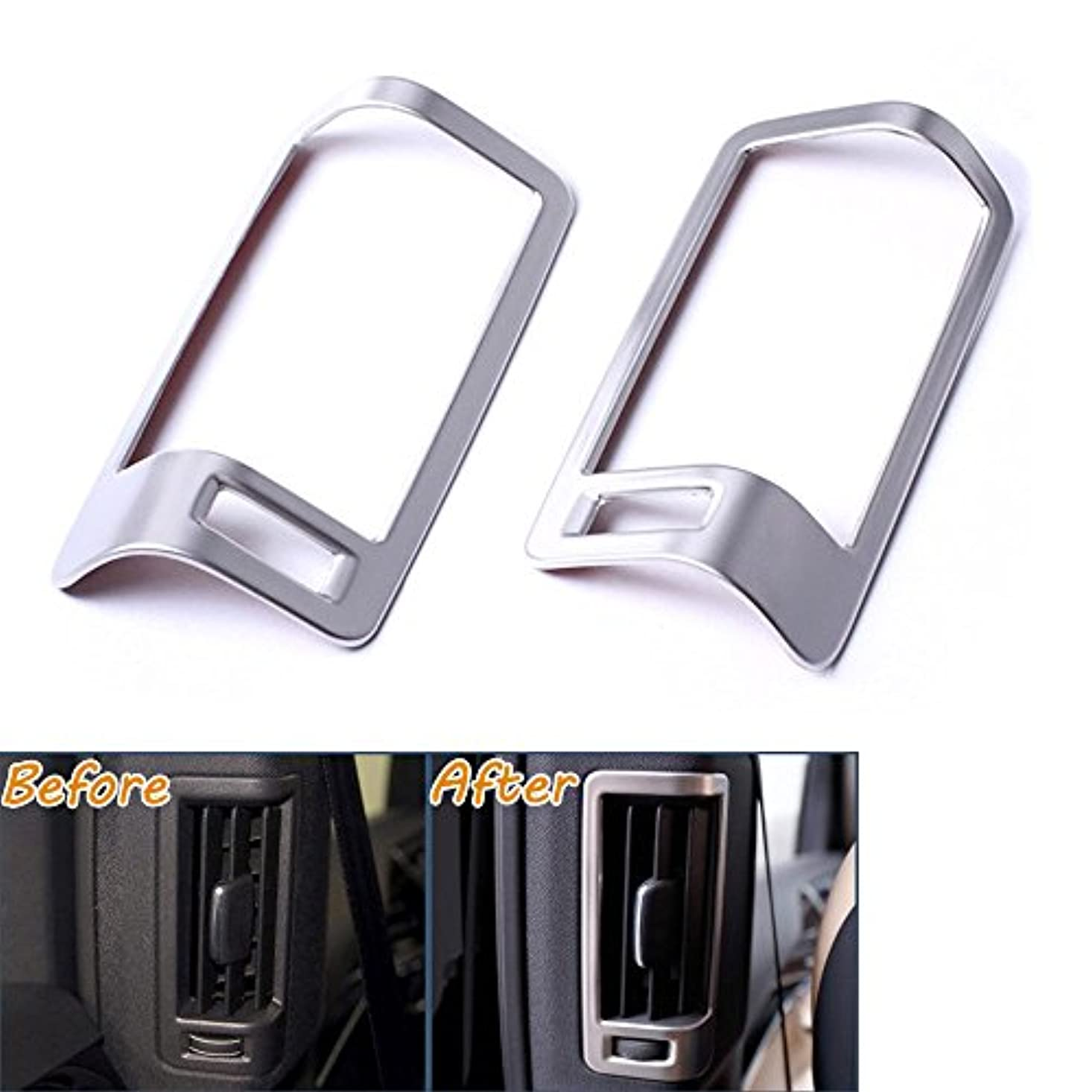 表面財政フィクションJicorzo - 2Pcs B Pillar AC Vent Outlet Frame Moulding Cover Trims Stainless Fit For 2016 VOLVO XC90