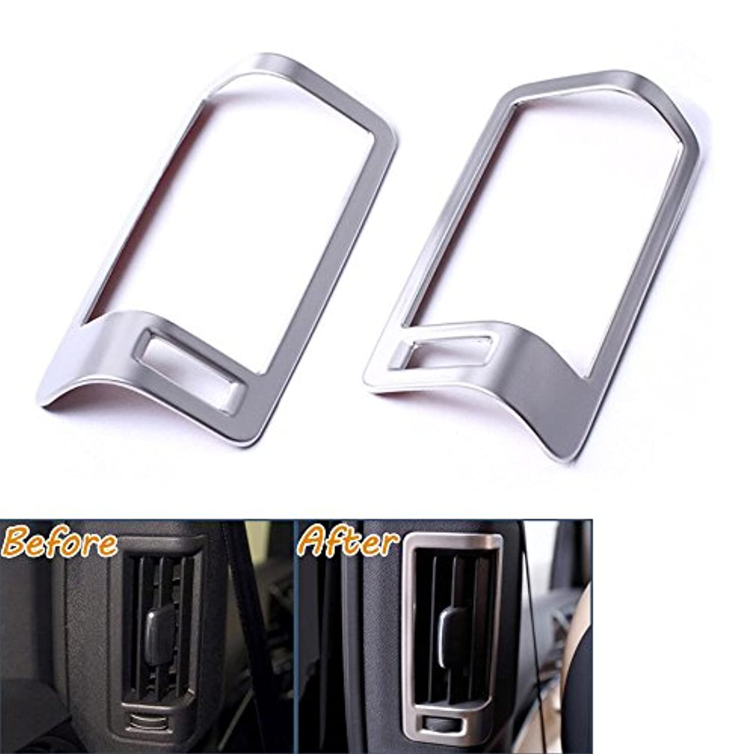 応じる通信する名義でJicorzo - 2Pcs B Pillar AC Vent Outlet Frame Moulding Cover Trims Stainless Fit For 2016 VOLVO XC90