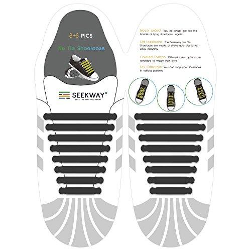 SEEKWAY 靴紐 結ばない ゴム 靴ひも 伸縮 靴紐 メンズ レディース用 ほとけない 靴ひも ほどけない 16pcs 10カラー NTS001 (ブラック)