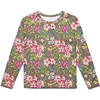 Rainbow Rules Tropical Vintage Florals Kids Longsleeve Cotton Blend T-Shirt Unisex