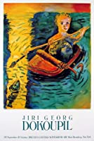 """GEORG DOKOUPIL Fishing 35"""" x 23.5"""" Poster 1985 Contemporary Multicolor, Yellow, Green, Blue Sea, Sardines, Can, Irony, O"""