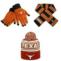 NCAAテキサスLonghorns Striped RugbyスカーフDrivenビーニー帽子とグローブソリッドニット3パックバンドル