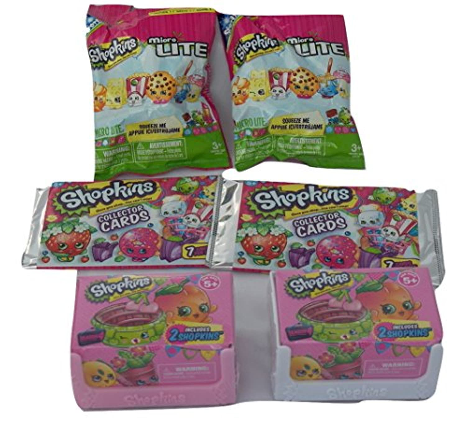 Shopkins Series 4 Petkins (2) 2 Packs , Micro Lite Series 1 (2) Packs of 1, Collector Cards (2) 7 Packs, Bundle ...