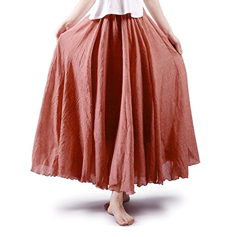 OCHENTA(オチェーンタ)レディース ふんわり 広幅 マキシスカート 森ガール シンプル 可愛い セレブ ウエストゴム 透けない 綿麻 Aライン 着丈85cm 95cm 105cm ロングスカート マキシ丈