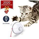 Feeko Cat Toys Interactive Smart Automatic Rolling Kitty Toys USB Rechargeable LED Light Electronic Cat Toy Ball Pet Exercise Chaser Toy for Cats and Dogs White