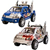 TukTek Kids First Set of 2 Mini Toy Truck Racecars Friction Push Racing Cars Power for Boys & Girls
