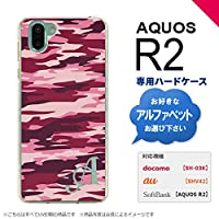 AQUOS R2 SH-03K SHV42(アクオス アール2) SH-03K SHV42 スマホケース カバー ハードケース 迷彩B ピンクB イニシャル対応 S nk-r2-1163ini-s