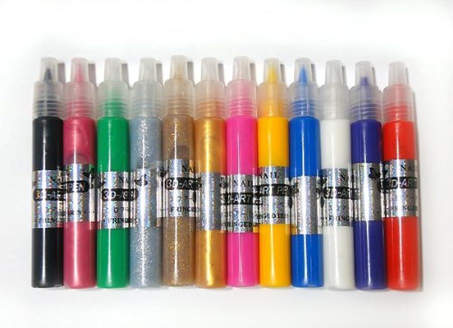 ズームインする振り子プロフィール3Dアートペン12色セット もこもこネイルアートが簡単に ネイルパーツ