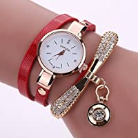 Chinatera Fashion Luxury Rhinestone Bracelet Women Quartz Dress Watch (Red)