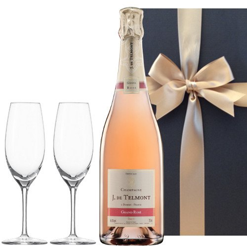 ペアシャンパングラス付きセット シャンパンロゼ「グラン・ロゼ・ブリュット」750ml、フルートシャンパン2個付き、ギフトボックス入り
