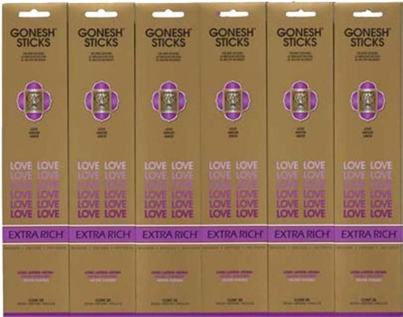 ピルファー通知する太陽GONESH LOVE ラブ スティック 20本入り X 6パック (120本)