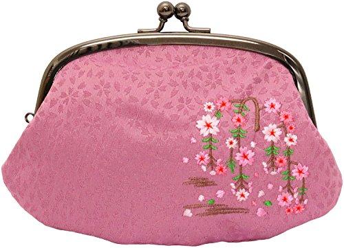 ユーアイ がま口財布 親子財布 刺繍4.3寸 紫