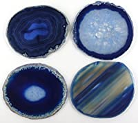 "JIC Gem Set of 4 Blue Dyed Brazilian Agate Coasters with Rubber Bumpers 3.5""-4"""