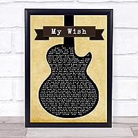 Rascal Flatts My Wish ブラック ギター ソング リリック プリント Large A3