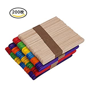 Amazon|200枚 木製アイススティック棒 (アイスキャンディー棒)長114mmx巾10mm 創造力・手作り・想像力 工芸品材料|使い捨てカトラリー オンライン通販