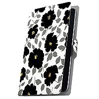 タブレット 手帳型 タブレットケース タブレットカバー カバー レザー ケース 手帳タイプ フリップ ダイアリー 二つ折り 革 花 フラワー 黒 ブラック 008793 ADP-738 Geanee ジーニー adp738xxxx adp738xxxx-008793-tb