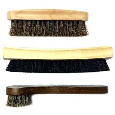靴磨き ブラシ 3点セット 馬毛ブラシ 豚毛ブラシ 馬毛ハンドルブラシ シューケア MINO Creates