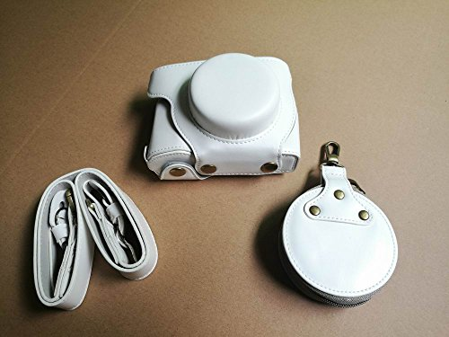 OLYMPUS オリンパス E-PL9 E PL9 14-42mm カメラ ケース、koowl 手で作った最高級のpu革の全身カメラ保護殻、OLYMPUS オリンパス PEN E-PL9 E PL9 ケース(14-42mmのレンズに適用) 向けの透かし彫りベース+ショルダーストラップ+ミニ収納ケース、防水、防振、携帯型 (白色)