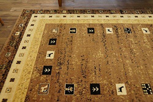 ギャベ 柄 エスニック 幾何学模様 ラグ NOMAD ブラウン 約 140×200 ウィルトン織 輸入 カーペット ホットカーペット カバー 対応