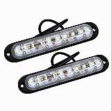 Amilliastyle 防水仕様 LEDデイライト DRL 超薄型6mm 10連LED 12V 24V車兼用 LED デイタイムランニングライト ホワイト 左右セット