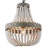 Newrays Retro Loft Vintage Rustic Round Wooden Beads Pendant Lamp E27 Led Hanging Lamp Decor Lights Modern for Living Room Hotel Kitchen (Small)