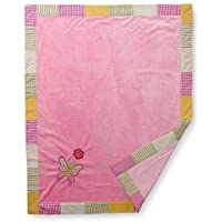 Girls Stripes and Plaids Soft Velour Blanket with Embroidery by Bacati [並行輸入品]