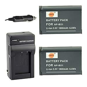 DSTE® アクセサリーキット NP-BX1 互換 カメラ バッテリー 2個+充電キット対応機種 Cyber-shot DSC-RX1 RX1R RX100 II III HX50V HX90V HX300 WX300 WX500 HDR-GWP88V GW66V CX240 AS15 DSC-RX1RM2
