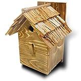 【野鳥用巣箱】本格派職人手作り 焼き杉 杉皮屋根デラックス巣箱(完成品)[YS110]