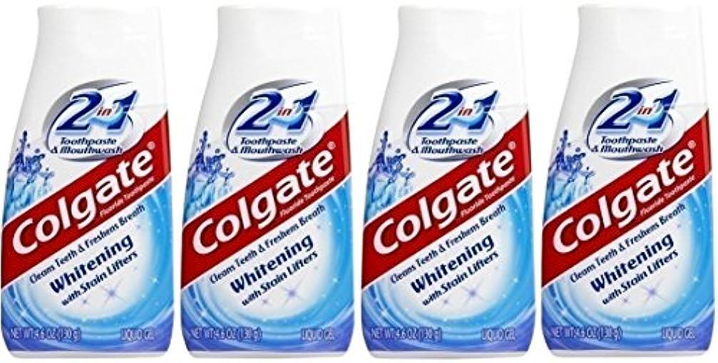 トレイルバンジョー寛大なColgate 2-IN-1ホワイトニングで染色リフター歯磨き粉4.60オンス(4パック)