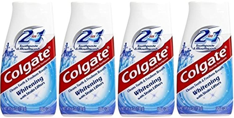 ビバ証言するガチョウColgate 2-IN-1ホワイトニングで染色リフター歯磨き粉4.60オンス(4パック)