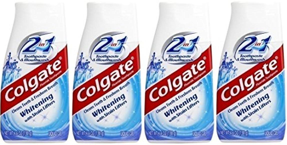 絶えず習慣季節Colgate 2-IN-1ホワイトニングで染色リフター歯磨き粉4.60オンス(4パック)
