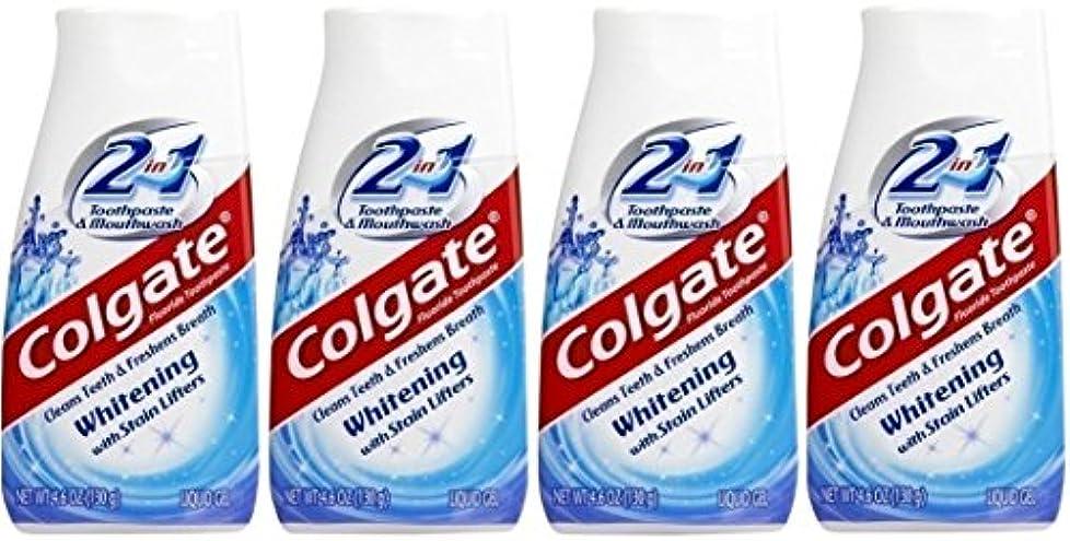 剛性天皇野生Colgate 2-IN-1ホワイトニングで染色リフター歯磨き粉4.60オンス(4パック)