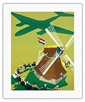 オランダ - ロイヤルオランダ航空KLMオランダ航空 - 風車 - ビンテージな航空会社のポスター によって作成された ポール・ブリレンズ c.1945 - キャンバスアート - 41cm x 51cm キャンバスアート(ロール)