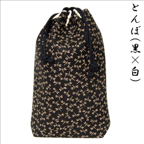 印傳屋 印伝 合切袋 ( 巾着 信玄袋 ) 3005 和柄 ( 和風 / 和 / 和小物 / 和物 ) メンズ ( 男性用 ) バッグ (とんぼ(黒×白))