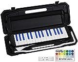 KC キョーリツ 鍵盤ハーモニカ メロディピアノ 32鍵 ブラック/ブルー P3001-32K/BKBL (ドレミ表記シール・クロス・お名前シール付き)