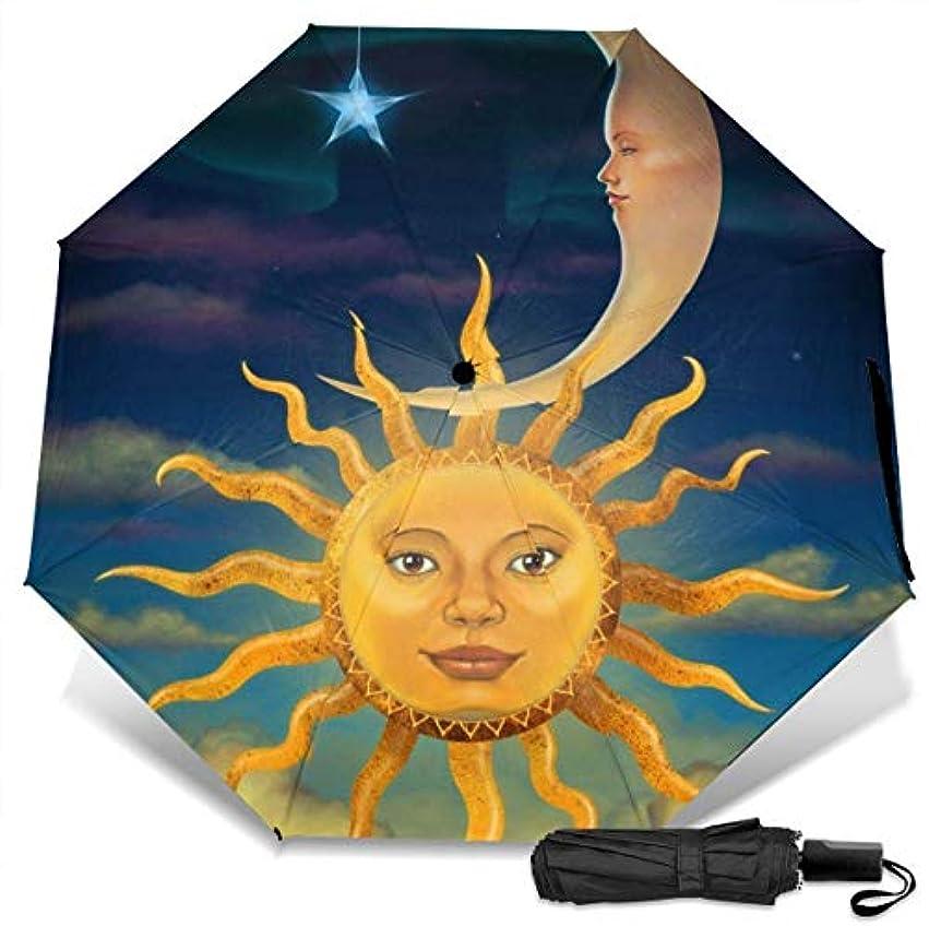 王室文献ポンド星と太陽と月折りたたみ傘 軽量 手動三つ折り傘 日傘 耐風撥水 晴雨兼用 遮光遮熱 紫外線対策 携帯用かさ 出張旅行通勤 女性と男性用 (黒ゴム)