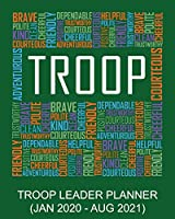 Troop Leader Planner: Words Green January 2020 - August 2021, A Complete Organizer Planner