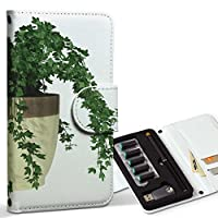 スマコレ ploom TECH プルームテック 専用 レザーケース 手帳型 タバコ ケース カバー 合皮 ケース カバー 収納 プルームケース デザイン 革 植物 シンプル 緑 009713