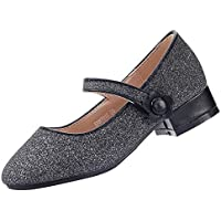 EIGHT KM EKM7012 Girls Mary Jane Low Heel Glittery Court Shoes