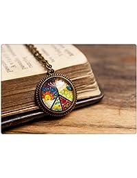 小さな平和のペンダント、アンティーク真鍮ペンダント、ガラスドームペンダント、アンティークブロンズペンダント、真鍮ネックレス、ガラスのネックレス、小さな平和のネックレス