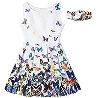 VOGUEON Girls Floral Butterfly Print Summer Dress Sleeveless Princess Costume Casual Sundress for Kids with Headband
