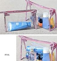 Aorunji 素晴らしい ポータブルクリアメイクバッグ防水化粧品バッグ旅行トイレタリーの洗濯袋の収納袋 (色 : Pink, サイズ : 25x16cm)