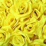 D-drempating 造花 バラ 8センチ 手作り ローズ 50個 セット パーティー ウエディング 結婚式 誕生会 二次会 (イエロー)pa056