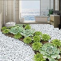 Hwhz カスタム粘着床壁画壁紙3Dステレオ石畳サボテン浴室防水床タイルステッカー-250X175Cm