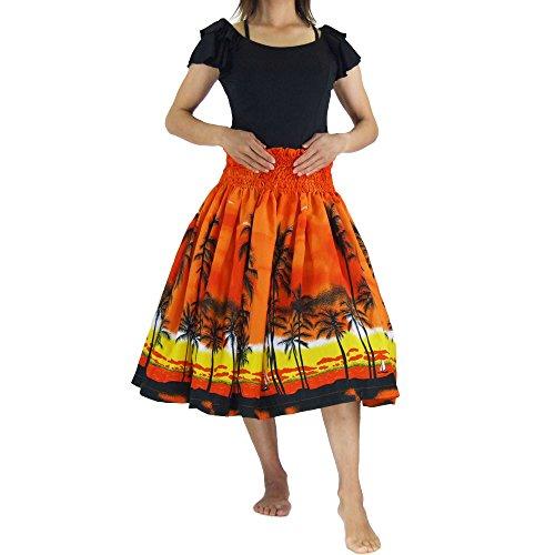 □■JA54260 フラ シングル パウスカート 75cm オレンジ | フラダンス スカート フラダンス衣装 パニエ