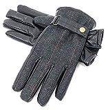Marukawa JEANS POWER JEANS VALUE(マルカワジーンズパワージーンズバリュー) 手袋 スマートフォン対応 ヘリンボーンチェック 裏ボア メンズ ブラック Free